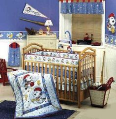 Snoopy Sports Bedding. This has a special place in my heart since it is the theme we used to decorate my son's nursery.