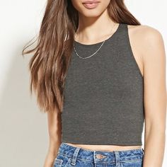 Gorgeous gray short crop top I have gray and black. Small but fits XS. If you have more of a bust it will be a higher crop top than in the picture ❤️ Tops Crop Tops