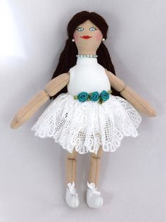 Ballerina Doll In White Tutu  Toy Doll  Art Doll by JoellesDolls
