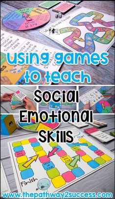 Games to teach social emotional learning skills, including social problem solving, communication, empathy, and more. games are a fun and interactive way to Social Emotional Activities, Social Emotional Development, Social Skills Activities, Teaching Social Skills, Social Games, Teaching Kids, Learning Skills, Teaching Emotions, Emotions Activities