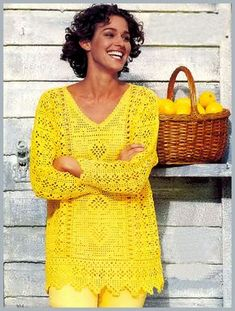 Желтый пуловер крючком с коллажем узоров. Филейное вязание крючком. - Схемы вязания пуловера - Схемы для вязания - Уроки вязания крючком - Вязание крючком, схемы для вязания крючком