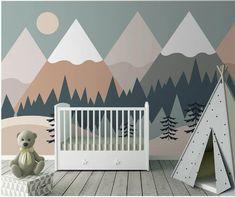Triangle Geometric Mountains with Trees Nursery Children Wallpaper Wall Mural, Geometric Mountain Ca