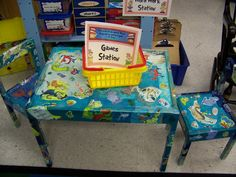 Mod Podge idea for my yard-sale find table and chairs Repurposed Furniture, Kids Furniture, Painted Furniture, Yard Sale Finds, Gaming Station, Arts And Crafts, Diy Crafts, Classroom Fun, Daycare Ideas
