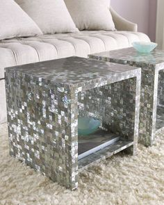 "Abalone Side Table by Bernhardt at Horchow. An allover abalone shell veneer gives this fabulous little table from Bernhardt distinctive flair. An open interior with shelf brings even more function to the design. 18""Sq. x 18""T. Imported."