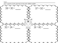 Worksheets to use to introduce adding two digit numbers to multiples of ten.: