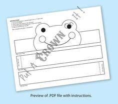 Frog Paper Crown COLOR YOUR OWN Printable