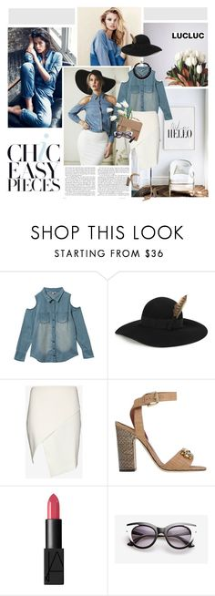"""""""Denim story (LUCLUC 10)"""" by crazy-daisy1 ❤ liked on Polyvore featuring H&M, Alexander McQueen, Yves Saint Laurent, Mason by Michelle Mason, Salvatore Ferragamo, Dolce&Gabbana, NARS Cosmetics and lucluc"""