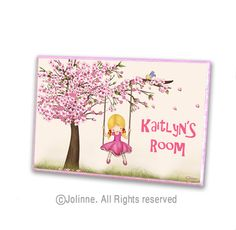 """My special place"" Personalized girls room door sign - a wonderful addition to any girl's room or nursery , or a unique and thoughtful birthday or baby shower gift!    Size: 7"" long 4.75"" wide and 0.40"" high (18cm long 12cm wide 1cm high)    Materials: The Jolinne art print is adhered to the wood and circumscribed with a matching color of acrylic paint and a thin glittering line, to make the perfect ending to the sign.  2 pieces of dual sided tape are attached on the back of the plaque for…"