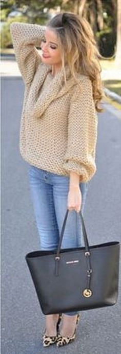 Super Cute! Love this Comfy Sweater! Love the Bag! Love the Leopard Heels! #Khaki #Boatneck #Sweater #Street #Style #Fashion #Outfit #Ideas