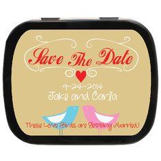 Love Birdies Personalized Save the Date Mint Tin Party Favors, Engagement Favors, Edible Favors, Unique Save The Dates, Mint Tins, Personalized Party Favors, Wedding Party Favors, Lunch Box, Dating, Quotes