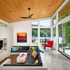 Modernes Wohnzimmer Einrichten Dekokissen Farbige Akzente Fenster