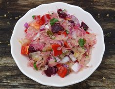 In Hungary, one of the most popular preserves is csalamádé which is a mixture of pickled cabbage, capsicum (sweet pepper), cucumber and spices. It's eaten during the winter with almost every meal. When I feel like having some, I make this version, which is a bit of a cheat because I just mix...