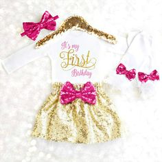 Sparkly Birthday Outfit for the Birthday Girl! The PERFECT outfit for her Birthday Party, Cake Smash or Birthday Photo Shoot. Celebrate in style and let her be the belle of...