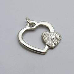 Customized Jewelry Silver Open Heart with Heart Fingerprint Pendant or Necklace. Beautiful detail on the fingerprint. So dainty and so personal. Mens Silver Necklace, Mens Silver Rings, Sterling Silver Bracelets, Silver Earrings, Silver Chains, 925 Silver, Fingerprint Necklace, Silver Jewellery Indian, Metal Clay Jewelry