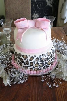 Pink Leopard Baby Shower cake