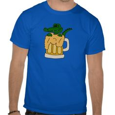 Alligator in Beer Mug Tee Shirts #alligators #funny #animals #beer #shirts #sports And www.zazzle.com/tickleyourfunnybone*