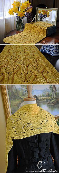 """Летний шарф """"Желтые крокусы""""."""