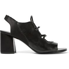 3.1 Phillip Lim Drum satin-paneled leather slingback sandals (9,690 MXN) ❤ liked on Polyvore featuring shoes, sandals, black, black leather shoes, black high heel shoes, black slip on shoes, slip on sandals and black shoes