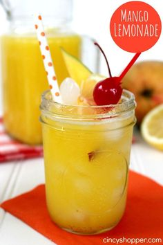 Fresh Mango Lemonade Recipe. Full of flavor and refreshing for spring and summer.