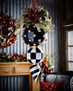 Mackenzie Childs MacKenzie-Childs Deck the Halls Triple Christmas OrnamentShop Deck the Halls Triple Christmas Ornament from MacKenzie-Childs at Horchow, where you'll find new lower shipping on hundreds of home furnishings and gifts. Christmas Balls, Christmas Wreaths, Christmas Ornaments, Christmas Topiary, Glass Ornaments, Whimsical Christmas, Outdoor Christmas, All Things Christmas, Christmas Holidays