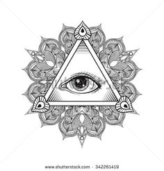 eye: Vector All seeing eye pyramid symbol. Vintage hand drawn freedom, spiritual, occultism and mason sign in doodle style. Eye of providence with mandala. Masonic Tattoos, Symbol Tattoos, Tatoos, Hamsa, Providence Tattoo, Art Deco Tattoo, Triangle Eye, Pyramid Eye, Music Tattoo Designs