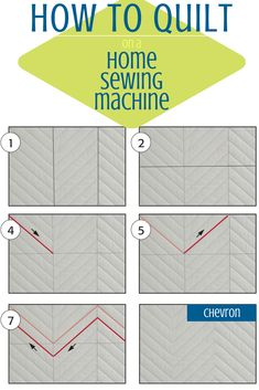 The chevron is an edge-to-edge free-motion quilting motif that has a clean and crisp finished look. Instead of rolling the quilt from both sides and starting in the center, roll just one side of the quilt and start your quilting on one edge. Quilting Stitch Patterns, Quilting Templates, Quilting 101, Quilt Stitching, Free Motion Quilting, Quilting Tutorials, Quilt Patterns, Quilting Ideas, Modern Quilting