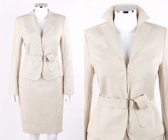 AKRIS PUNTO 3 Pc Cream Pinstriped Cotton Blend Belted Blazer Skirt Suit Set Sz 8 #Akris #SkirtSuit