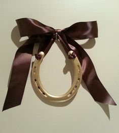 DEAL OF THE DAY! Decorated Gold HorseshoeSatin Chocolate Brown by LuckyPonyShop, www.etsy.com/shop/luckyponyshop