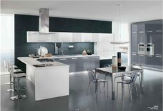 black and white. modern kitchen