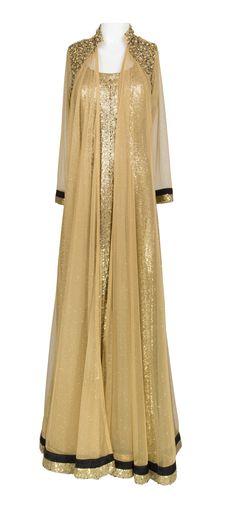 Golden Sequins Anarkali – LuxShoppe.com