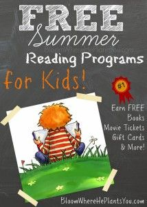 "You can help prevent the ""Summer Slide"" and keep your kiddos on track with their reading by joining one of these FREE SUMMER READING PROGRAMS! Kids of all ages and reading levels can participate (even non-readers!) and earn great prizes like gift cards, books, pizza, cash and more!"