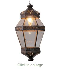 Aged Tin Hanging Hexagonal Flower Light Fixture - This is my answer to the Vaughn Alhambra.