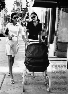 "Two Models Pushing a Baby Pram One in White, One in Black FROM: ""Black & White"", Vogue US, mid 90s Photographer: Pamela Hanson Models: Trish Goff & Carolyn Murphy (Source: bellazon.com)"
