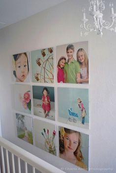 the color photos really pop against the stark white walls - looks like a scrapbook page!