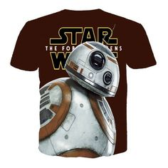 2016 New Style Mens 3D Star Wars T Shirts BB8 Printed Short Sleeve Men Fitness…