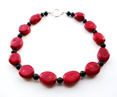 Chunky Red Coral Necklace - Statement Red and Black Beaded Necklace - Coral Jewelry - Beadwork Jewelry - Toggle Clasp - Big Skies Jewellery