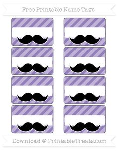 Pastel Dark Plum Diagonal Striped  Mustache Name Tags