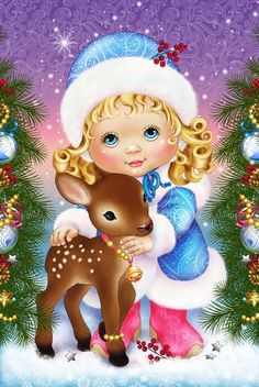 Diy Diamond Painting Girl And Deer Cartoon Mosaic Diamond Embroidery Square Dill Full Cross Stitch Child Gifts Crafts Christmas Paintings, Christmas Art, Vintage Christmas, Christmas Ornaments, Diy And Crafts, Arts And Crafts, Fabric Softener Sheets, Theme Noel, Christmas Wallpaper
