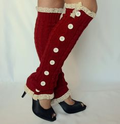 Leg warmers red cable knit slouchy open button down lace by bstyle, $34.00