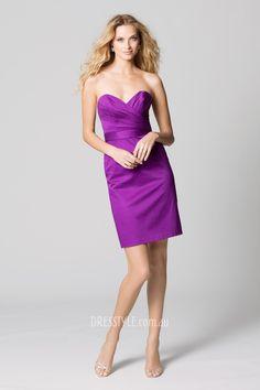 purple satin sweetheart strapless sheath short pleated bodice bridesmaid dress