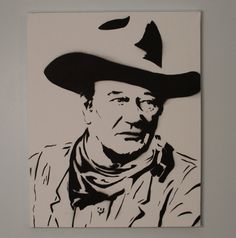 John Wayne Art- black and white painting. Spray Painted Medium Canvas. 16X20