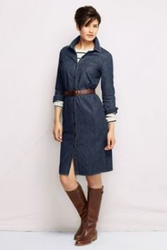Women's Denim Shirt  Dress from Lands' End.  Also shown styled with a camel-colored trench coat, and with a long-sleeved sweater over the dress.