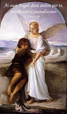 According to the Bible, Tobias was standing by a river when he was attacked by a giant fish. He was saved by his guardian angel. The painting shows th.