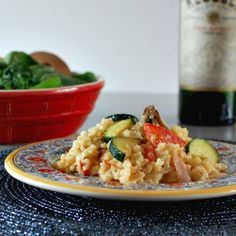 garlic cream risotto with summer vegetables