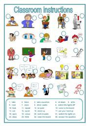 English worksheet: Classroom instructions, a labelling worksheet (editable)