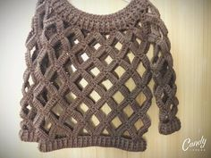 Spring sweater with an interesting pattern. our original unique crochet for everyone. Crochet Blouse, Crochet Poncho, Crochet Stitches, Unique Crochet, Easy Crochet, Crochet Top, Knitting Designs, Crochet Designs, Crochet Patterns