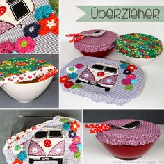 Bowl cover hood cover sewing fabric oilcloth quick easy tutorial sewing pattern self make idea gift inspiration kitchen helper tinker cheap cheap easy sewing sewing elastic applique hippie bus vw - Diy Gifts Sewing Hacks, Sewing Tutorials, Tutorial Sewing, Sewing Elastic, Diy Accessoires, Diy Mode, Diy Couture, Diy And Crafts, Crafts For Kids