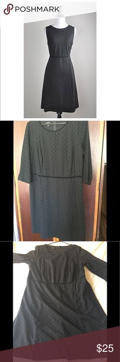 TALBOTS VELVET DOT DRESS WITH SLEEVES Black sleek dress suitable for a date or a night out ! This dress has sleeves barely worn ( see pictures ) NO tear NO holes NO missing pieces Talbots Dresses Long Sleeve