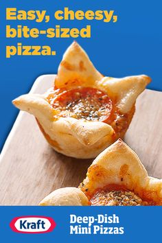 Easy to make? You bet. Whether you're serving them as a fun dinner side or a snack for their friends, these fast mini pies are bursting with cheesy pizza flavor. Pizza Flavors, Pizza Recipes, Pork Recipes, Appetizer Recipes, Chicken Recipes, Appetizers, Cooking Recipes, Halibut Recipes, Dinner Recipes