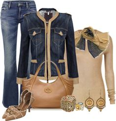 """""""Denim and Tory Burch"""" by lisa-holt ❤ liked on Polyvore"""